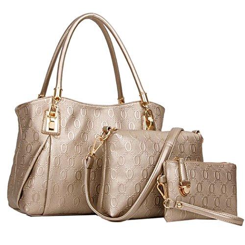 OUMIZHI 3 teiliges Damen Handtaschenset im Vintage Style Leder Henkeltasche Crossbody Tasche Handgelenktasche (Gold) (Gold Vintage Handtasche)