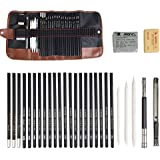 TIMESETL 29pcs Drawing Pencil Set for Sketching,Included Graphite Pencils,Charcoal Pencils,Paper Stumps,Eraser,Craft Knife for Beginners Artists Adults
