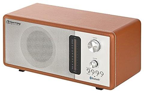 Roadstar HRA-1350 US/BT Retro-Radio mit Bluetooth, 40 Watt Musikleistung (Bluetooth, USB, SD-Karten-Leser, AUX-In), braun / silber, Gehäuse mit Kunstleder-Überzug