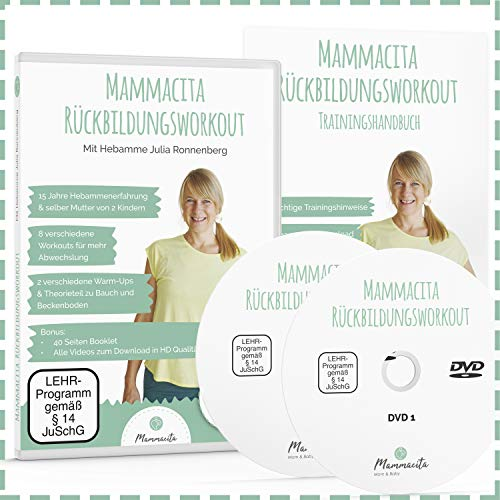Rückbildungskurs Rückbildungsgymnastik 2 DVDs von Hebamme mit 40 Seiten Buch. Fit nach der Schwangerschaft, Beckenbodentraining für Frauen, Mütter für Fitness nach der Schwangerschaft & Geburt
