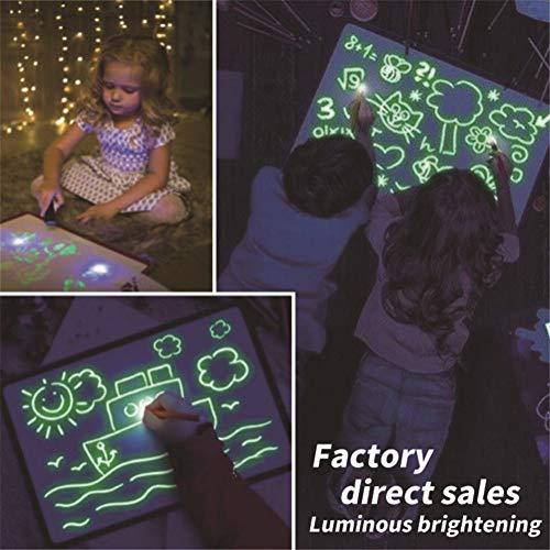 Pizarra luminosa Pizarras mágicas para niños mágicas para niños Tablets de escritura LCD y eWriters fluorescencia, pintura luminosa, la escritura panel de luz (Size : A3)