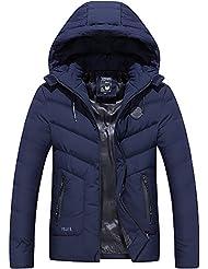 Chaqueta gruesa acolchada de algodón de otoño/invierno de los hombres, Chaqueta Parka con capucha desmontable, 2 colores