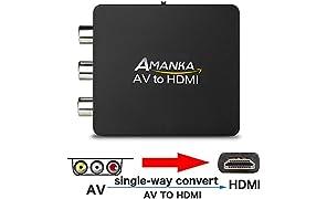Adattatore RCA a HDMI, Mini Adattatore da Composito CVBS AV a HDMI Convertitore Audio Video Supporto 1080p con Cavo di Ricarica USB per Lettore Blu Ray PC Portatile PS2 TV STB VHS VCR Video DVD