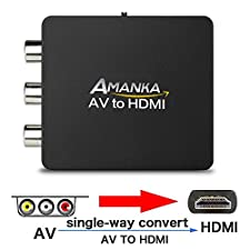 AMANKA Mini Composite RCA zu HDMI Wandler/Konverter - AV Cinch FBAS zu HDMI Adapter 720P 1080P AV für TV/PC/PS3/Blue-Ray/DVD/Xbo/SKY HD/VHS Videorecorder/VCR, Schwarz