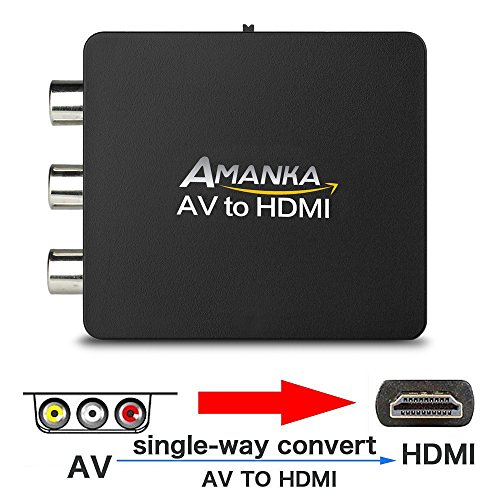 AMANKA Mini Composite RCA zu HDMI Wandler / Konverter - AV Cinch FBAS zu HDMI Adapter 720P 1080P AV für TV/PC/PS3/Blue-Ray/DVD/Xbo /SKY HD/VHS Videorecorder/VCR, Schwarz Test