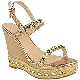 Damen Sandaletten im Espadrille-Stil - hoher Keilabsatz - mit Nieten besetzt - Roségold Metallic Crinkle-Effekt - EUR 37