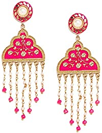 PANASH Woman's Gold-Plated & Hand Painted Classic Drop Trendy Party/Festive/Wedding Wear Earrings