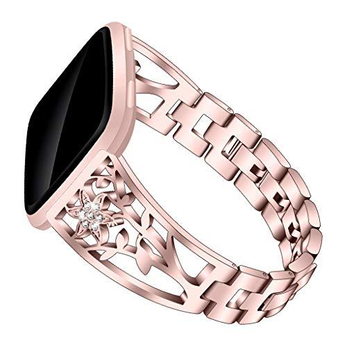 Happy event Strap Kompatibel Fitbit/Versa Lit, Edelstahlarmband, Bügel, verstellbares Ersatz-Zubehör, Riemen, Fitness-Armband (Rose Gold)
