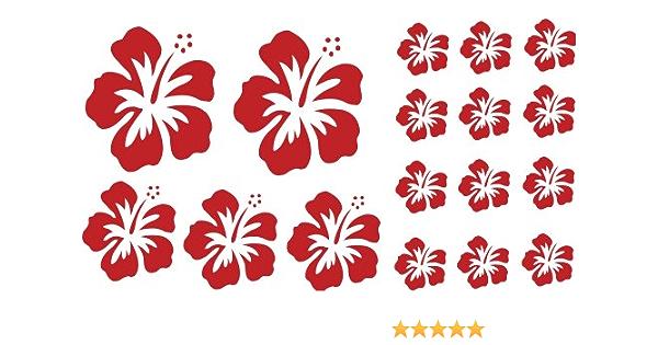 Xl Design Set In Rot 17 Stück Hibiskus Blüten Autoaufkleber Selbstklebende Blumen Bunte Sticker Outdoor Wandtattoo Fensterbild Wählen Sie Aus 32 Farben Küche Haushalt