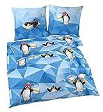 PINGUIN Fein Biber Kinderbettwäsche Mädchen & Jungen · COOL ICE · süße Pinguine blau - Kissenbezug 80x80 + Bettbezug 135x200 cm - 100 % Baumwolle - mit Reißverschluss