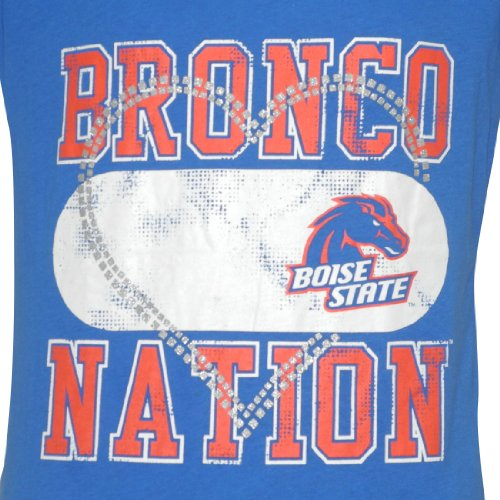 NCAA Boise State Broncos Damen Rundhals-Off-The-Shoulder T-Shirt Blau