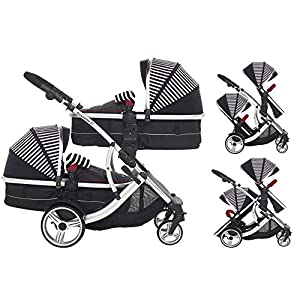 Kids Kargo Duellette Combi Tandem Double Twin pushchair (Oxford Stripe) for Newborn Twins  LATEST V4 MODEL Twin independant sun canopy's & peek-a-boo window & auto-locking fold NARROW 72cm WIDTH! All-terrain 3-Wheeler pushchair, suitable for use from Birth to 4 years (approx) Independent Multi-position adjustable backrest, including lie flat with 5-Point Safety Harness 6