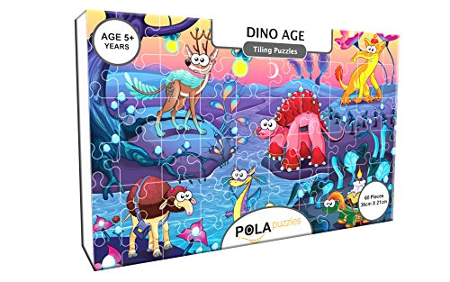 Pola Puzzles Dino Age Tiling Puzzles 60 Pieces For Kids Age 5 years and above Multi Color Size 36CM X 21CM Jigsaw Puzzles for Kids