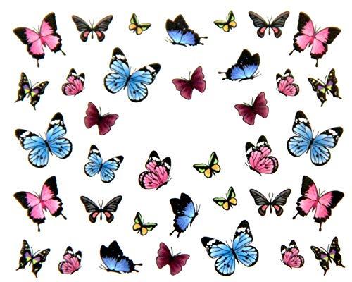 EROSPA® Nailart Nail-Tattoo Schmetterlinge/Butterfly Motiv - Nagel Sticker - Aufkleber - 36 Motive - Selbstklebend -
