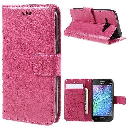 jbTec® Flip Case Handy-Hülle passend für Samsung Galaxy J1 / SM-J100 - Book Muster Schmetterlinge S16 - Handy-Tasche Schutz-Hülle Cover Handyhülle Ständer Bookstyle Booklet, Farbe:Deep Pink