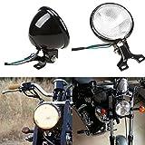 Taben 12,7cm 35W schwarz Motorrad Bernstein Kopflampe Kopf Lampe für Harley Chopper Bobber