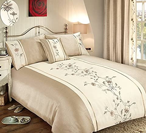 King Size Floral Sapphire Cream / Natural Luxury Embellished, Embroidered Duvet Cover Set
