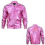 70s Jahre 80s Jahre 90s Jahre Pink Qualität Metallisch Glänzend Rabe Bomber Jacke Hologramm Festival Kostüm - Rosa, Large