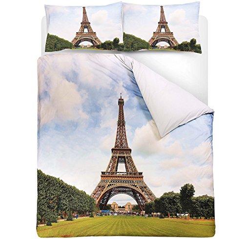 Torre Eiffel Parigi Francia vera Stampa Digitale fotografica T200100% cotone percalle copripiumino federe set, King