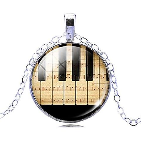 Jiayiqi Gioielli Donna Moda Pianoforte Tastiera Foto Ciondolo Tempo Gemma Dichiarazione Collana Regalo Di