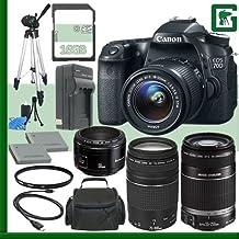 Canon EOS 70d Kit de cámara réflex digital con lente de 18–55mm IS STM y Canon 55–250mm lentes y Canon 50mm f/1,8lente y Canon EF 75–300mm III lente + 16GB verde de la cámara paquete 1