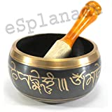 eSplanade - 5 inches - Singing Bowl Tibetan Buddhist Prayer Instrument With Striker Stick | OM Bell | OM Bowl | Meditation Bowl | Music Therapy