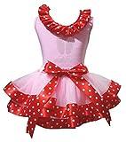 Petitebelle Bling Häschen-Gesicht Hemd Punkte rot Band Rosa Petal Rock-Satz Nb-8J 6-8 Jahre Mädchen