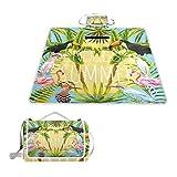 TIZORAX Picknickdecke, für den Sommer, Blumen, Flamingo, Toukan, Vögel, die Sonne, wasserfest, faltbar, Picknick-Matte für Strand, Camping, Wandern