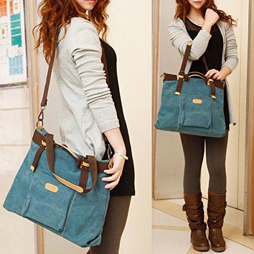 La haute Casual da donna tela Shopper Borsa Hobo Tote da viaggio resistente borsa a tracolla, Blue (blu) - LHTE-53 Blue