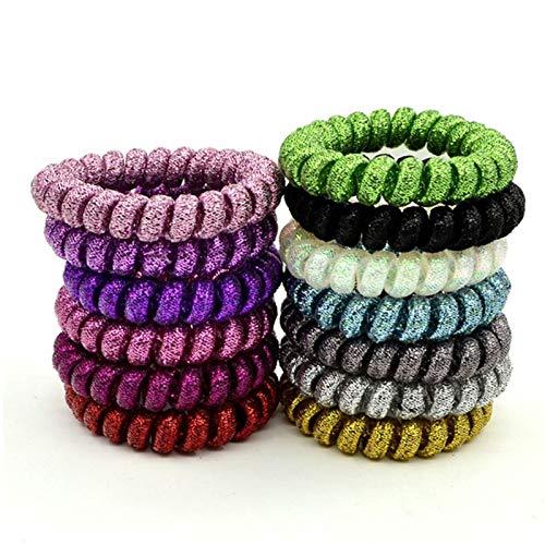 MLDFS Glitter Elastische Haarbänder Mädchen Haarschmuck Gummiband Headwear Haar Seil Spirale Form...