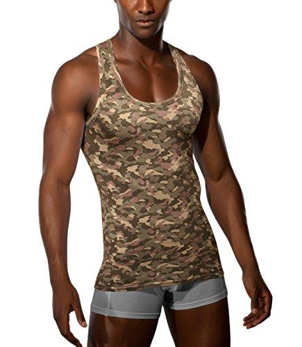Doreanse Achselshirt Tanktop Muskelshirt Fitness Shirt Unterhemd Camouflage Printed Tank Racerback (6 - L, Printed)