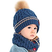 Zerototens Winter Kids Hat Set,0-8 Years Old Toddler Baby Knit Hat Cap Winter Warm Wool Infant Toddler Kids Crochet Beanie Cap and Neckerchief Scarf Set