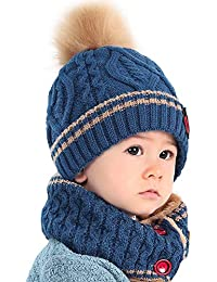 10dbe79e0056 DAY8 Bonnet Bébé Fille Hiver Pompom 0.5-8 Ans Tricotés Bonnet Bébé Garçon  Naissance Chaud Tube Echarpe Enfant…