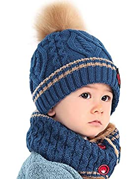 Fuibo Baby Mütze Schal Set, Baby Kind Beanie Mädchen Kappen Halstuch Strickte Winter Schal warme Kinderhüte |...