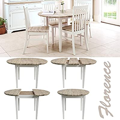 Florence white round extended table (92-117cm). 100% hardwood kitchen dining table with limed wooden top. Table ONLY. Matching chairs are also available produced by Statement Furniture - quick delivery from UK.
