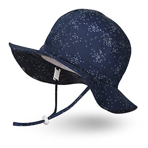 Ami&Li tots Jungen Sonnenhut Verstellbarer Hut mit breiter Krempe Sonnenschutz UPF 50 für Baby Mädchen Jungen Säugling Kind Kleinkind Unisex - L: Schwarm nachtaktiver Vögel -