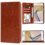 #8: DMG Premium Leather Wallet Flip Cover Stand Case for Samsung Galaxy J7 Prime (Latchless ID Brown)