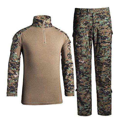 Combat Hosen Camo (QCHENG Taktisches Hemd Militärhemd und Hose Airsoft Männer Langarm BDU Combat Camouflage Camo Kampf T-Shirt für Tactical Paintball Uniform Armee (Digitaler Dschungel XL))