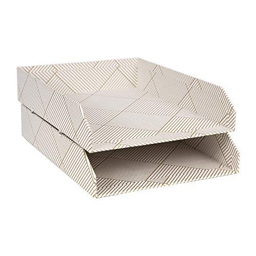 Bigso Box of Sweden 2er-Set Briefablage für den Schreibtisch - stapelbare Ablagefächer für Briefe, Dokumente usw, - Ordnungssystem aus Faserplatte mit Papier- Gold/weiß
