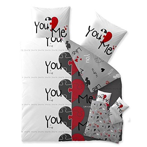CelinaTex Fashion Bettwäsche Baumwolle 80×80 Kissenbezug Du & Ich Weiß Grau Rot Schwarz Herz Liebe Love PartnerCelinaTex Fashion Bettwäsche