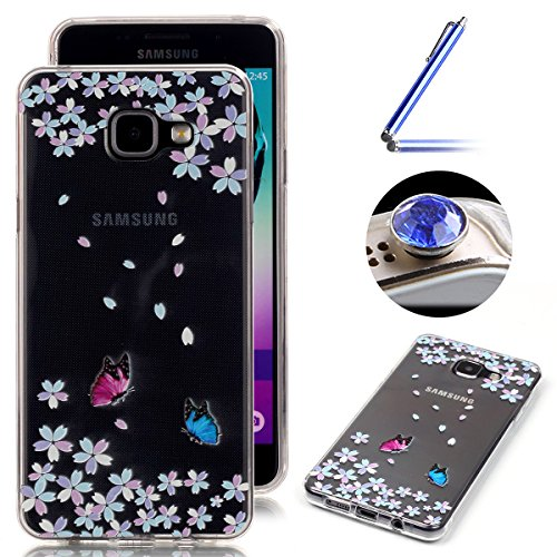 Etsue Samsung Galaxy A5 Cover Tpu,Samsung Galaxy A5 2016 Custodia Trasparente,Morbido Soft Gel CoverBella/Creativo/Fresco Modello in Silicone Gomma Antigraffio Protettivo Case Cover Per Samsung Galaxy A5 2016+Blu Pennino e scintillio di Bling Diamond Dust Plug colora