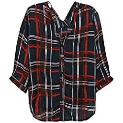 sourcingmap Mujer Escocesa 3/4 Mangas dos maneras Usando Lazo Deco Camisa - sintético, Rojo, 35% algodón 65% poliéster, Mujer, XS (UK 4)