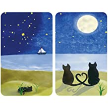 WENKO 2521140500 Cubiertas de cocina Universal Gatos - juego de 2 piezas para todos los tipos de cocinas, Vidrio - Vidrio endurecido, 30 x 1,8-4,5 x 52 cm, Multicolor