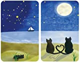 Wenko 2521140500 Coprifornelli Universal Cats, Set 2 Pezzi per Tutti i Tipi di Piani di Cottura, Vetro Temperato, Materiale Plastico, 52 x 1,8-4,5 x 30 cm, Multicolore/Grigio Chiaro
