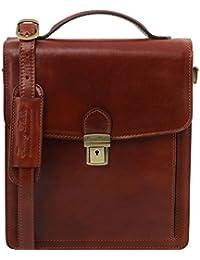 Tuscany Leather - David - Sac bandoulière en cuir pour homme - Grand modèle - Marron