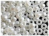 50 Stück Pony Bead - Tschechische gepresste Glasperlen in Form einer Walze 5,5mm mit einem großen Loch, Pastel White