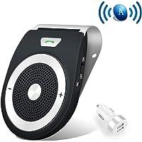 [Version française] Kit Mains Libres pour Voiture Bluetooth 4.1 Allumage Automatique par capteur de Mouvement intégré Support du GPS, Musique, Handsfree Bluetooth Car Kit en même Temps Pair 2 Phones