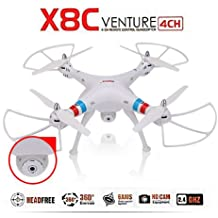 SYMA X8C 2.4G 4CH 2.0MP HD Camera 6-Axis Gyro RTF RC Quadcopter with Extra 2pcs Batteries (white)