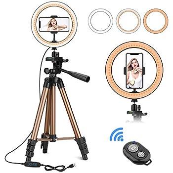 Faltbares Ring Lichter f/ür Live Streaming Selfie Fotografie 10 Zoll Dimmbares Ringleuchte mit 3 Farbmodi 10 Helligkeitsstufen Tragbares LED Ringlicht mit Stativ f/ür Handy USB Stromversorgung