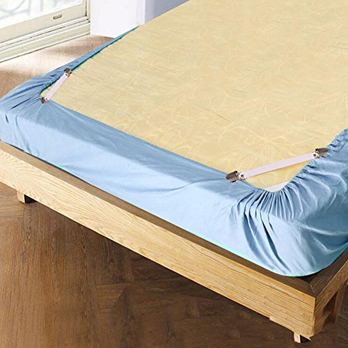 LeRan 4Pcs Bed Sheet Mattress Holders Elastic Fasteners Sofa Blankets Grippers (White)